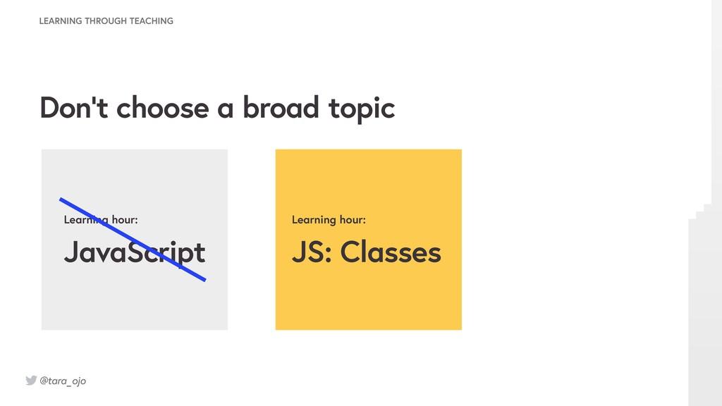 @tara_ojo Learning hour: JavaScript Learning ho...