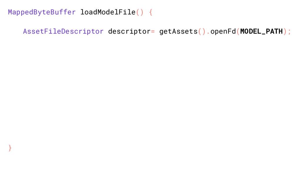 MappedByteBuffer loadModelFile() { AssetFileDes...