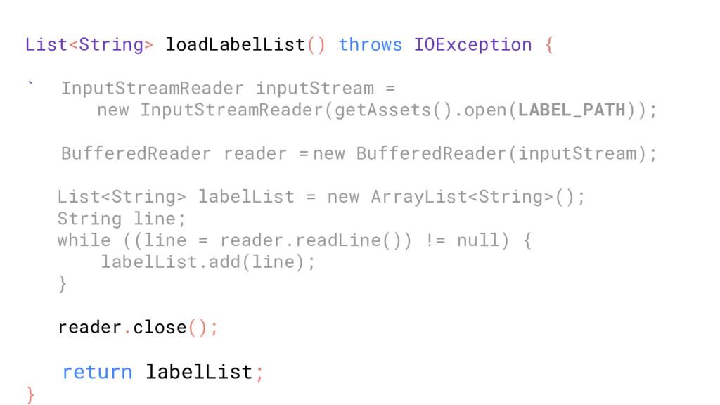 List<String> loadLabelList() throws IOException...