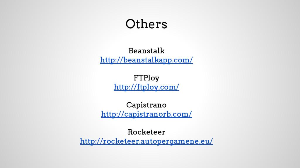 Others Beanstalk http://beanstalkapp.com/ FTPlo...