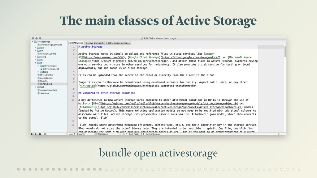 The main classes of Active Storage bundle open ...