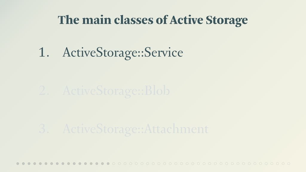 The main classes of Active Storage 1. ActiveSto...