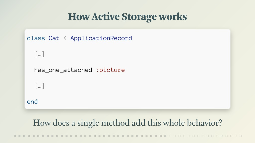 How Active Storage works How does a single meth...