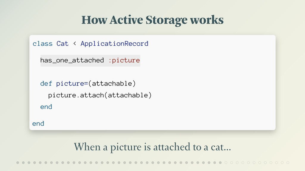 How Active Storage works When a picture is atta...