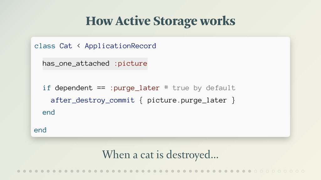 How Active Storage works When a cat is destroye...