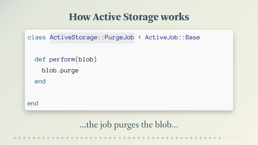 How Active Storage works …the job purges the bl...