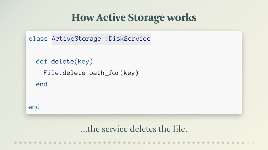 How Active Storage works …the service deletes t...