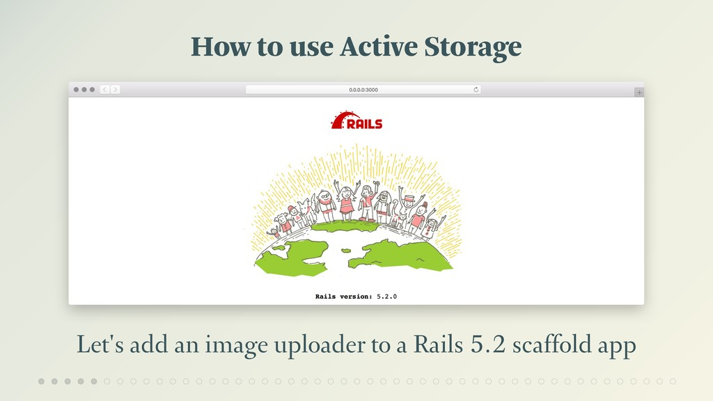 How to use Active Storage Let's add an image up...