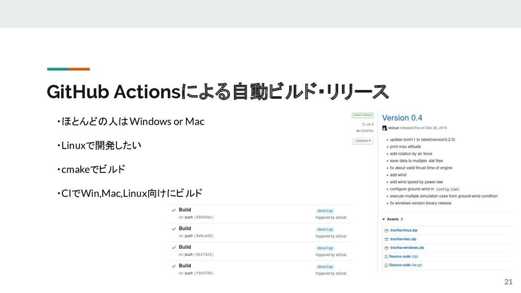 GitHub Actionsによる自動ビルド・リリース 21 ・ほとんどの人はWindows ...
