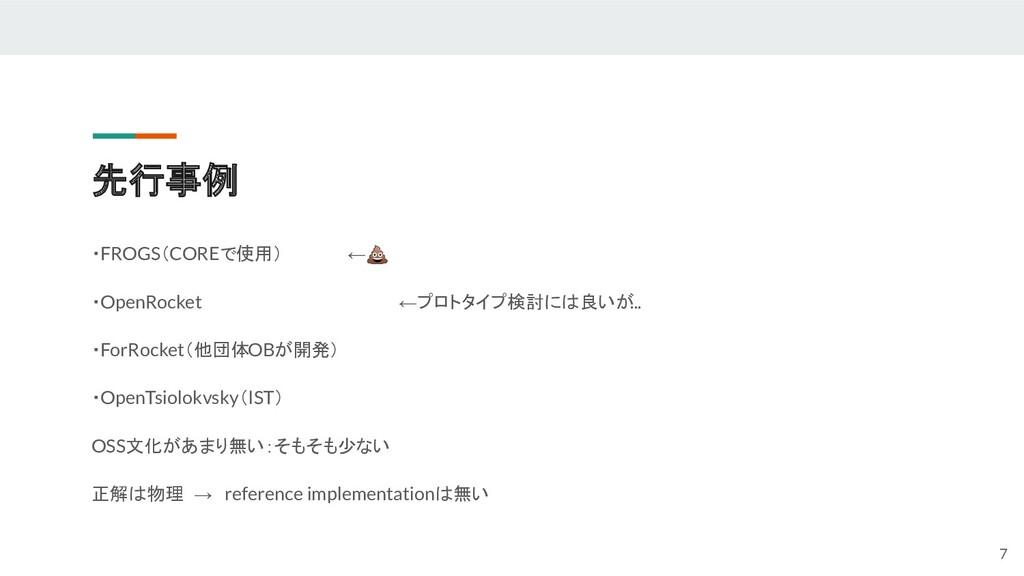 先行事例 ・FROGS(COREで使用) ← ・OpenRocket ←プロトタイプ検討には良...