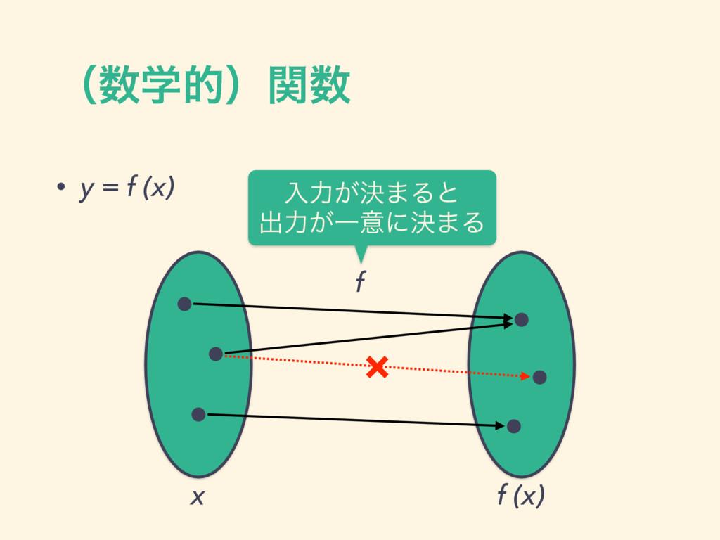 ʢֶతʣؔ • y = f (x) f x f (x) × ೖྗ͕ܾ·Δͱ ग़ྗ͕Ұҙʹ...