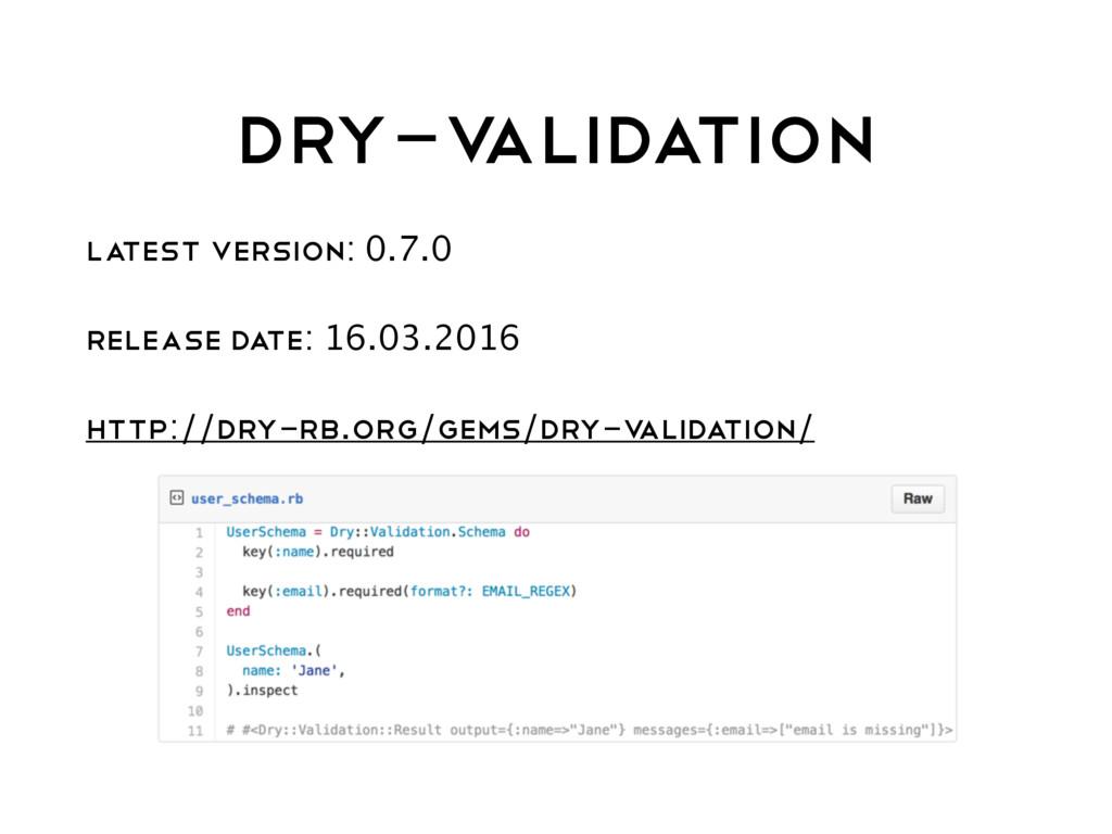 DRY-V ALIDATION LATEST VERSION: 0.7.0 RELEASE D...