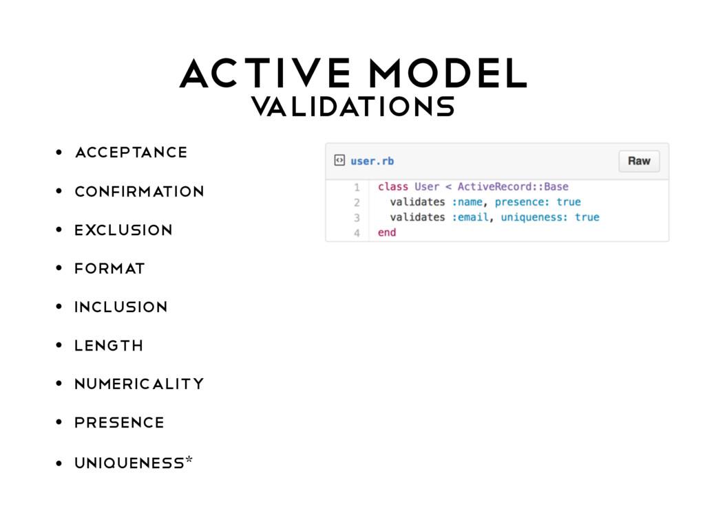 ACTIVE MODEL V ALIDATIONS • acceptance • confir...