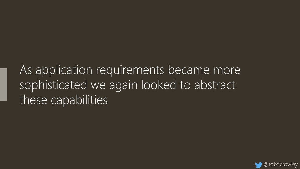 As application requirements became more sophist...