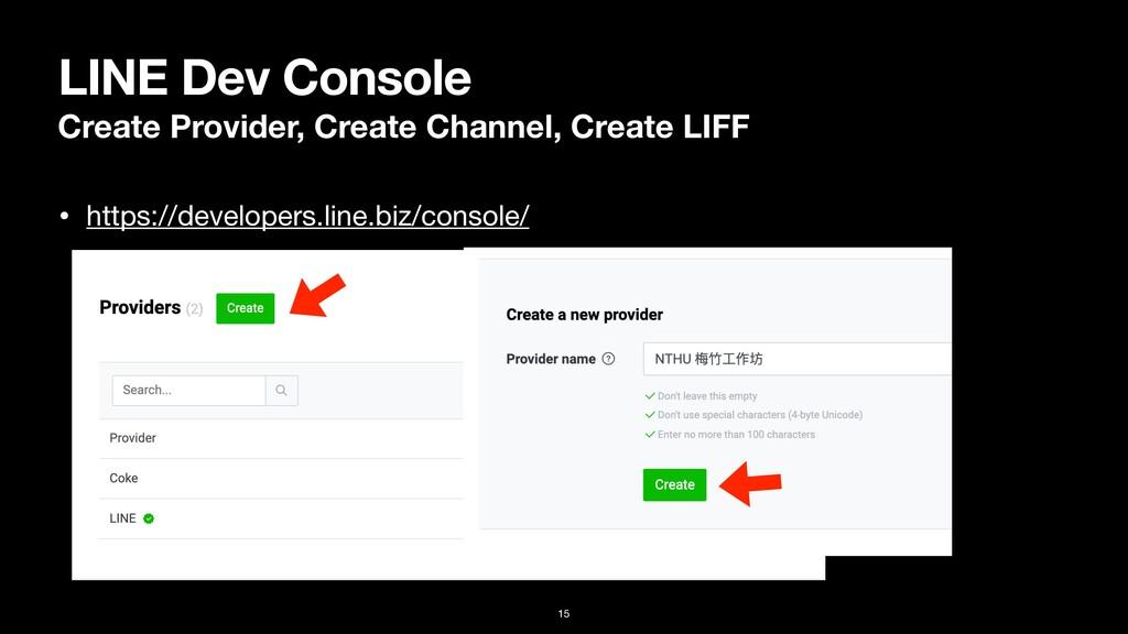 LINE Dev Console Create Provider, Create Channe...