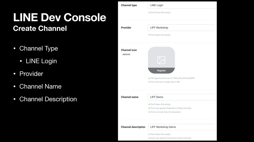LINE Dev Console Create Channel • Channel Type ...