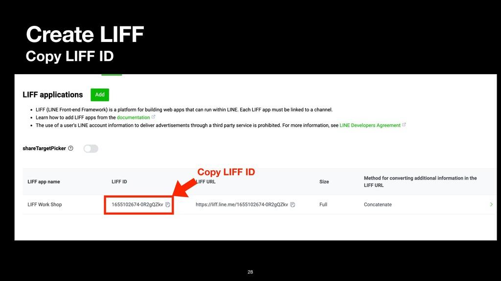 Create LIFF Copy LIFF ID Copy LIFF ID 28