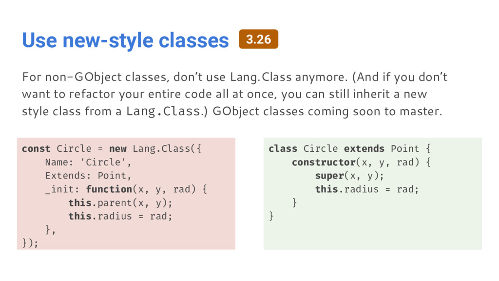 Use new-style classes const Circle = new Lang.C...