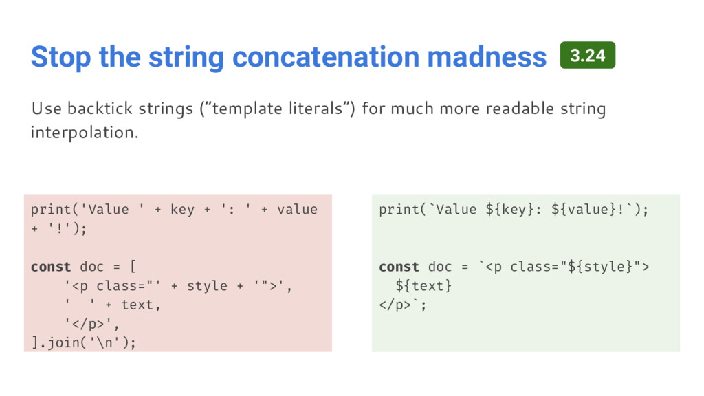Stop the string concatenation madness print('Va...