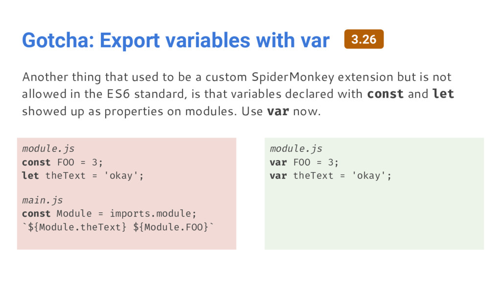 Gotcha: Export variables with var module.js con...