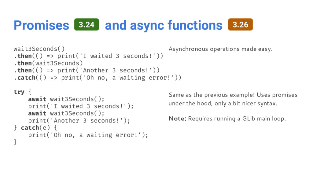 Promises and async functions wait3Seconds() .th...