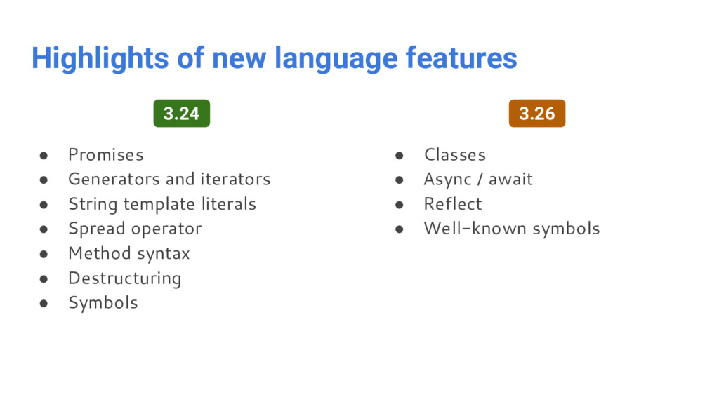 Highlights of new language features ● Promises ...