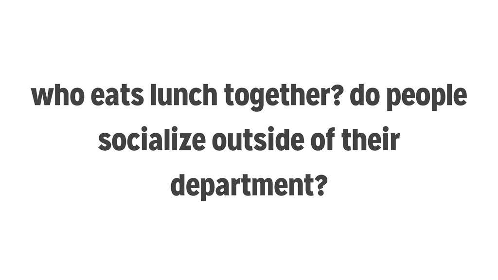 who eats lunch together? do people socialize ou...