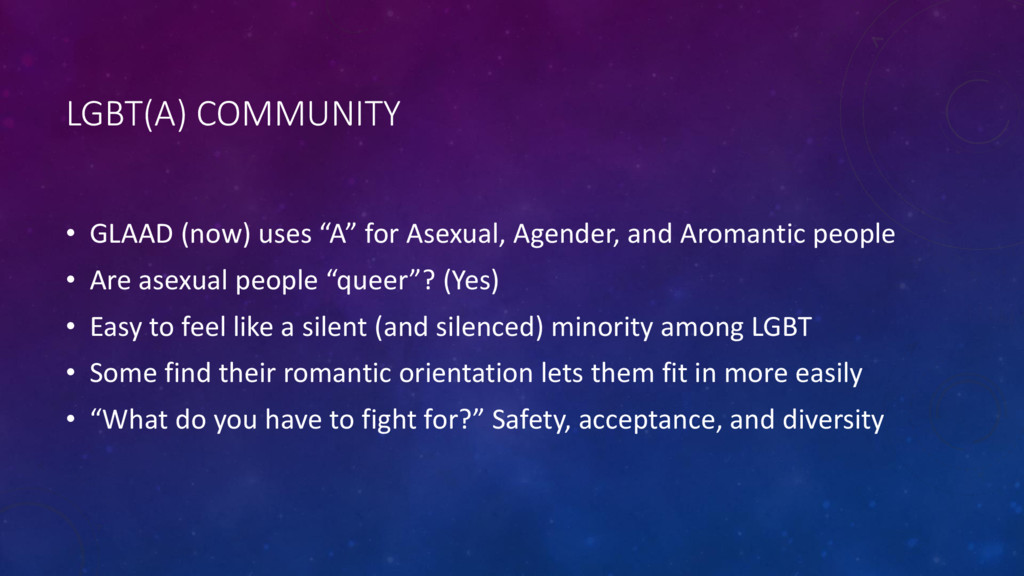 "LGBT(A) COMMUNITY • GLAAD (now) uses ""A"" for As..."
