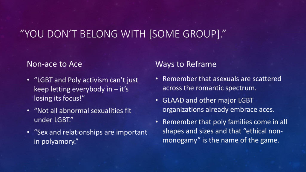"""YOU DON'T BELONG WITH [SOME GROUP]."" Non-ace t..."