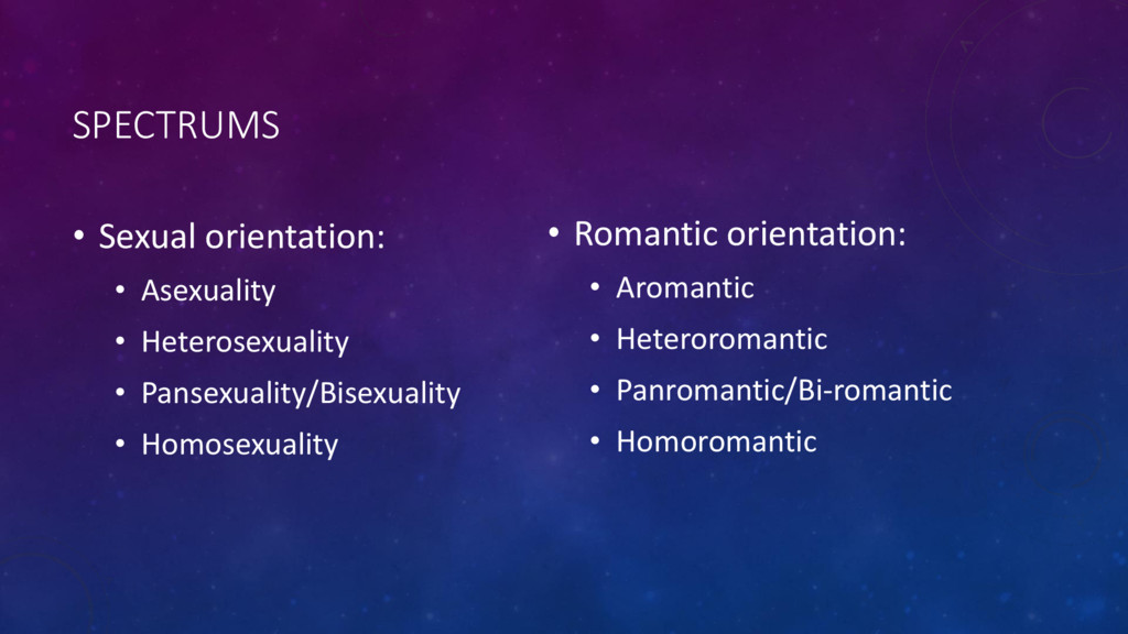 SPECTRUMS • Sexual orientation: • Asexuality • ...