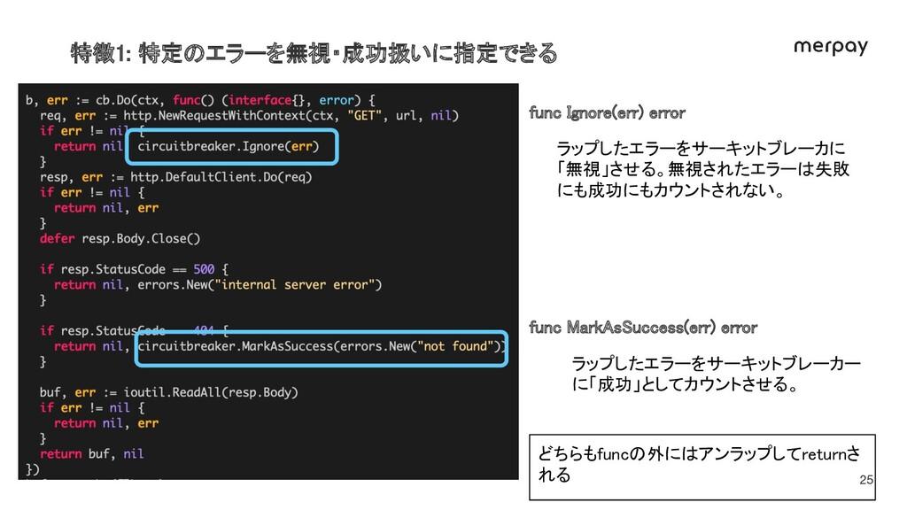 特徴1: 特定のエラーを無視・成功扱いに指定できる 25 func Ignore(err) ...