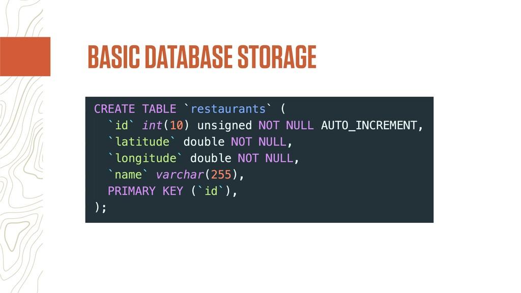 BASIC DATABASE STORAGE