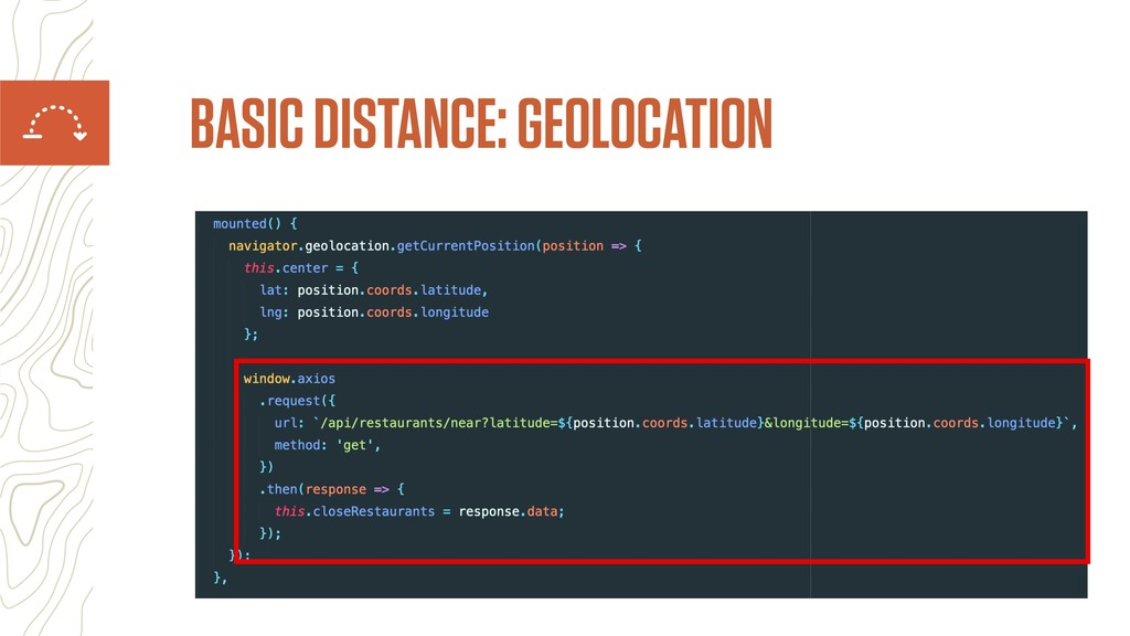 BASIC DISTANCE: GEOLOCATION
