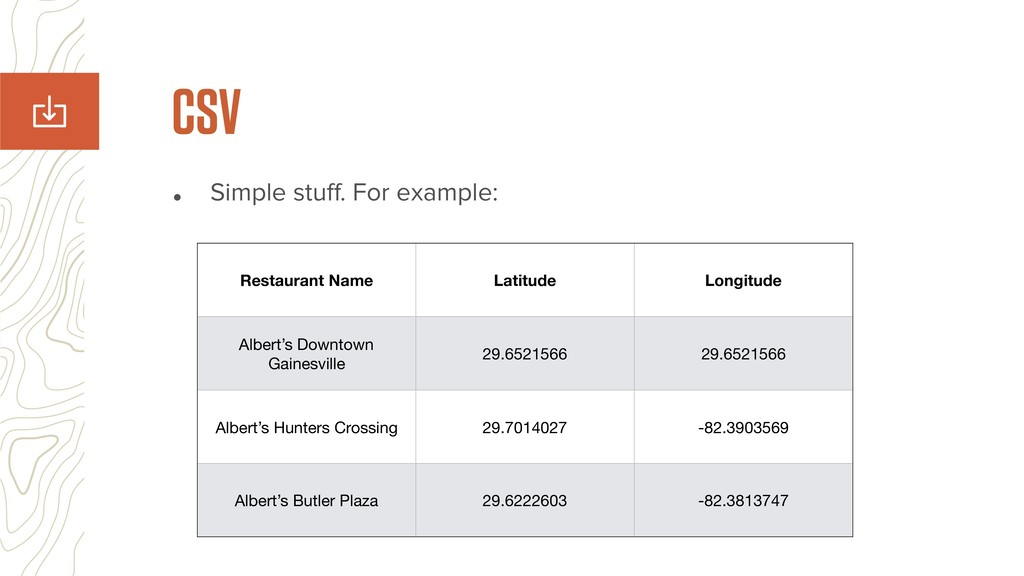 • Simple stuff. For example: CSV Restaurant Name...