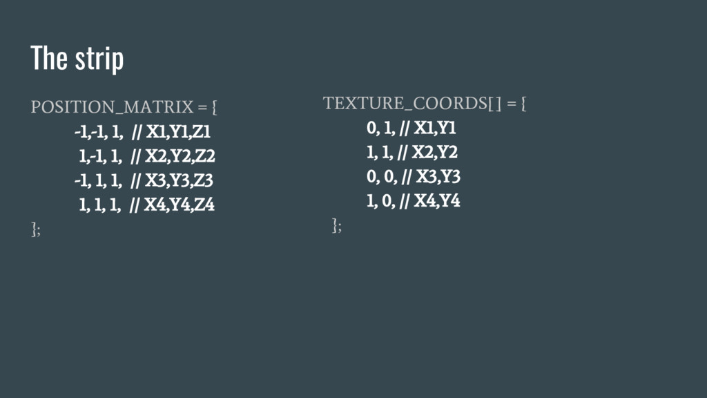 The strip POSITION_MATRIX = { -1,-1, 1, // X1,Y...