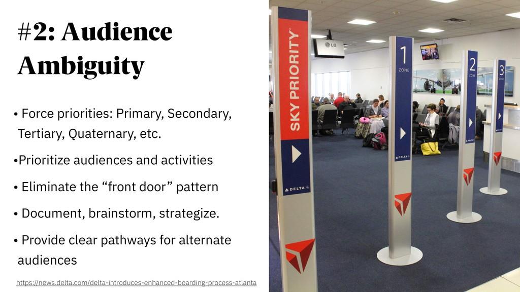 #2: Audience Ambiguity • Force priorities: Prim...