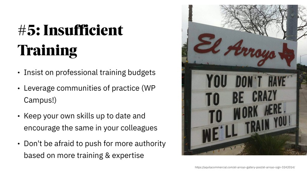 #5: Insufficient Training • Insist on professio...