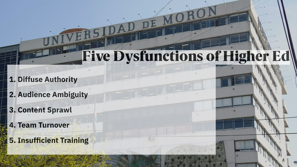 Five Dysfunctions of Higher Ed 1. Diffuse Autho...