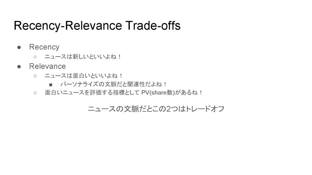 Recency-Relevance Trade-offs ● Recency ○ ニュースは新...