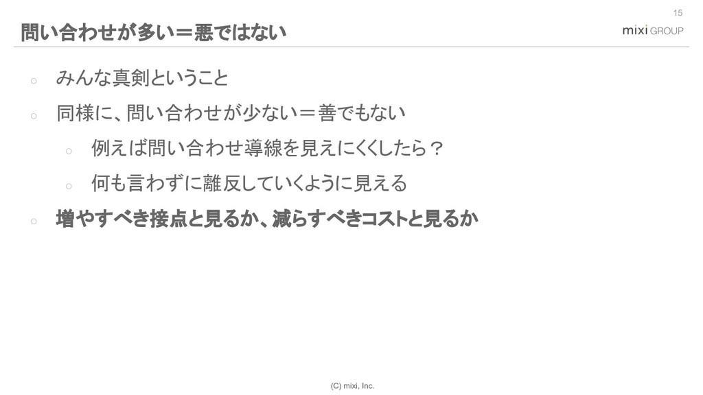 (C) mixi, Inc. ○ みんな真剣ということ ○ 同様に、問い合わせが少ない=善でも...