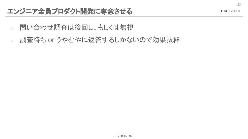 (C) mixi, Inc. ○ 問い合わせ調査は後回し、もしくは無視 ○ 調査待ち or う...