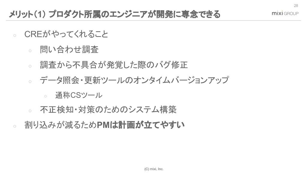 (C) mixi, Inc. ○ CREがやってくれること ○ 問い合わせ調査 ○ 調査から不...