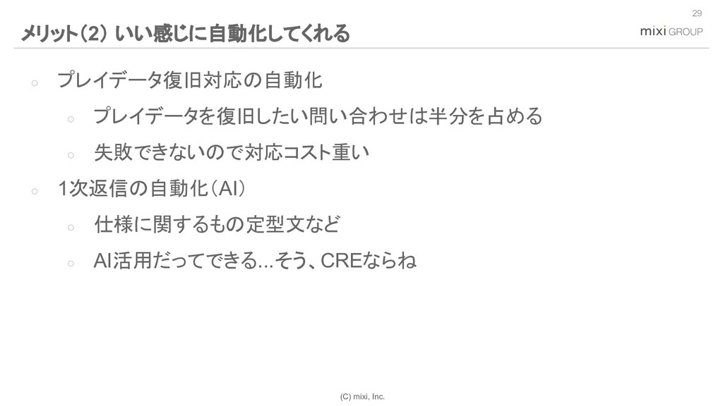 (C) mixi, Inc. ○ プレイデータ復旧対応の自動化 ○ プレイデータを復旧したい問...