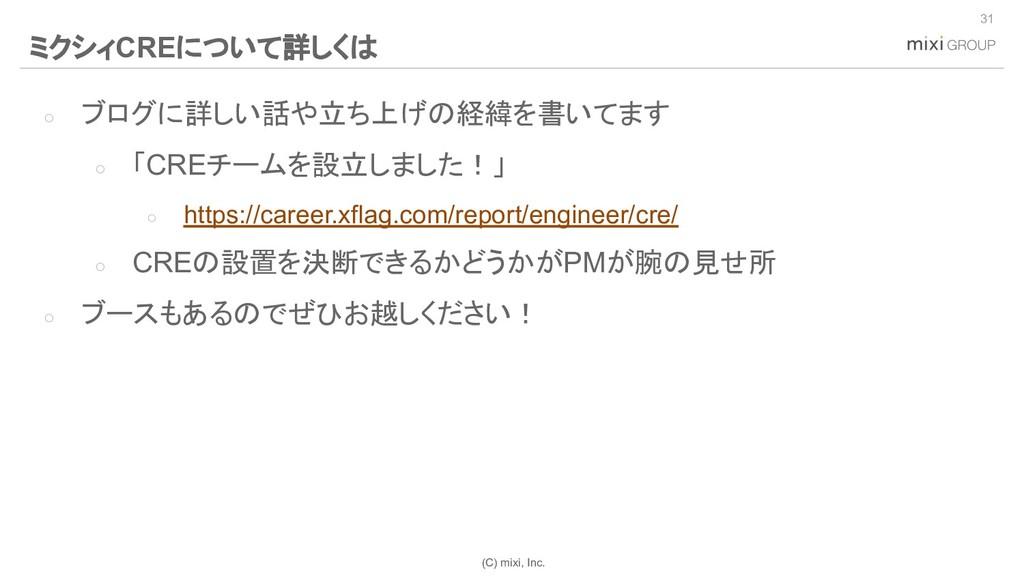 (C) mixi, Inc. ○ ブログに詳しい話や立ち上げの経緯を書いてます ○ 「CREチ...