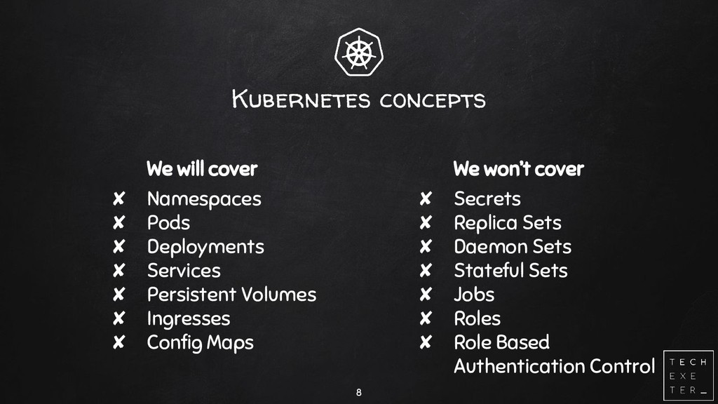 Kubernetes concepts We will cover ✘ Namespaces ...