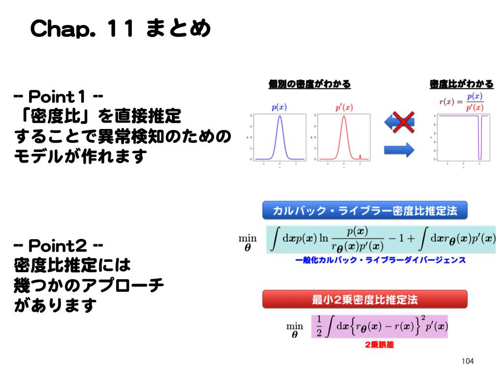 Chap. 11 まとめ -- Point1 -- 「密度比」を直接推定 することで異常検知の...