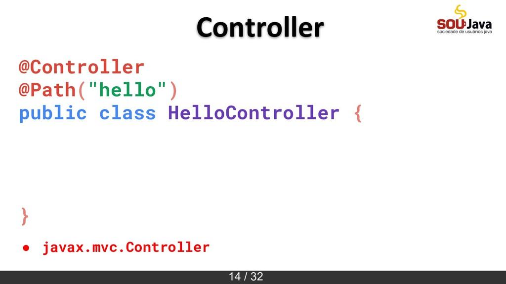 """14 / 32 Controller @Controller @Path(""""hello"""") p..."""