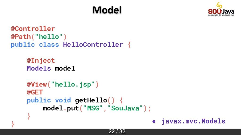 "22 / 32 Model @Controller @Path(""hello"") public..."