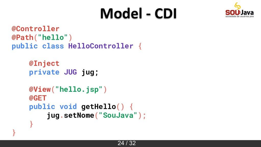 "24 / 32 Model - CDI @Controller @Path(""hello"") ..."