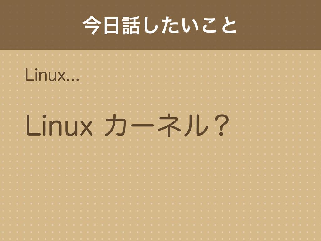 今日話したいこと Linux... Linux カーネル?